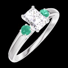 Bague Create 160283 Or blanc 18 carats - Diamant Rectangle 0.3 carat - Pierres de côté Émeraude