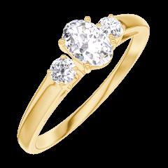 Bague Create 160321 Or jaune 18 carats - Diamant Ovale 0.3 carat - Pierres de côté Diamant