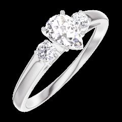 Bague Create 160423 Or blanc 18 carats - Diamant Poire 0.3 carat - Pierres de côté Diamant