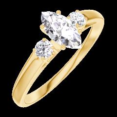 Bague Create 160521 Or jaune 18 carats - Diamant Marquise 0.3 carat - Pierres de côté Diamant