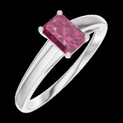 Bague Create 160804 Or blanc 9 carats - Rubis Rectangle 0.3 carat