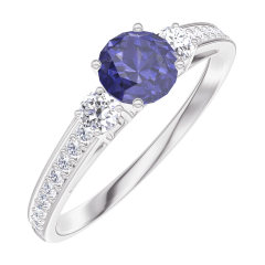 Bague Create 161228 Or blanc 9 carats - Saphir bleu Rond 0.3 carat - Pierres de côté Diamant - Sertissage Diamant