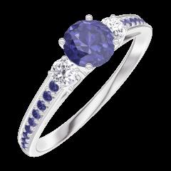 Bague Create 161236 Or blanc 9 carats - Saphir bleu Rond 0.3 carat - Pierres de côté Diamant - Sertissage Saphir bleu