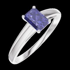Bague Create 161404 Or blanc 9 carats - Saphir bleu Rectangle 0.3 carat
