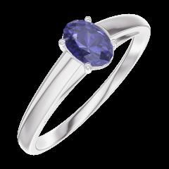 Bague Create 161504 Or blanc 9 carats - Saphir bleu Ovale 0.3 carat
