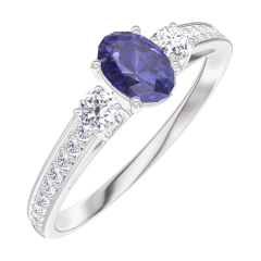 Bague Create 161528 Or blanc 9 carats - Saphir bleu Ovale 0.3 carat - Pierres de côté Diamant - Sertissage Diamant