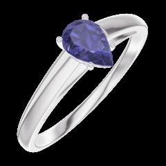 Bague Create 161604 Or blanc 9 carats - Saphir bleu Poire 0.3 carat