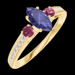 Bague Create 161746 Or jaune 9 carats - Saphir bleu Marquise 0.3 carat - Pierres de côté Rubis - Sertissage Diamant
