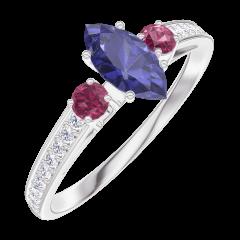 Bague Create 161748 Or blanc 9 carats - Saphir bleu Marquise 0.3 carat - Pierres de côté Rubis - Sertissage Diamant