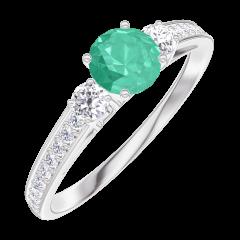 Bague Create 161828 Or blanc 9 carats - Émeraude Rond 0.3 carat - Pierres de côté Diamant - Sertissage Diamant