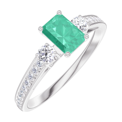 Bague Create 162028 Or blanc 9 carats - Émeraude Rectangle 0.3 carat - Pierres de côté Diamant - Sertissage Diamant