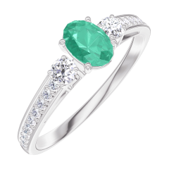 Bague Create 162128 Or blanc 9 carats - Émeraude Ovale 0.3 carat - Pierres de côté Diamant - Sertissage Diamant
