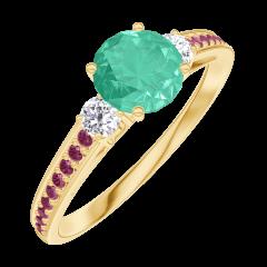 Bague Create 164230 Or jaune 9 carats - Émeraude Rond 0.5 carat - Pierres de côté Diamant - Sertissage Rubis