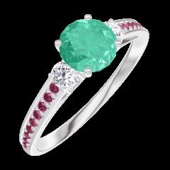Bague Create 164232 Or blanc 9 carats - Émeraude Rond 0.5 carat - Pierres de côté Diamant - Sertissage Rubis