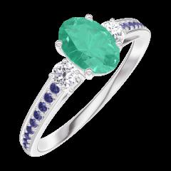 Bague Create 164536 Or blanc 9 carats - Émeraude Ovale 0.5 carat - Pierres de côté Diamant - Sertissage Saphir bleu