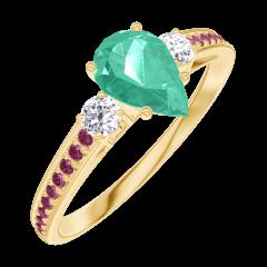Bague Create 164630 Or jaune 9 carats - Émeraude Poire 0.5 carat - Pierres de côté Diamant - Sertissage Rubis