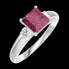 Bague Create 165524 Or blanc 9 carats - Rubis Princesse 0.7 carat - Pierres de côté Diamant