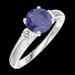 Bague Create 166024 Or blanc 9 carats - Saphir bleu Rond 0.7 carat - Pierres de côté Diamant