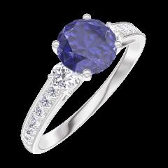 Bague Create 166028 Or blanc 9 carats - Saphir bleu Rond 0.7 carat - Pierres de côté Diamant - Sertissage Diamant