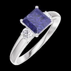 Bague Create 166124 Or blanc 9 carats - Saphir bleu Princesse 0.7 carat - Pierres de côté Diamant