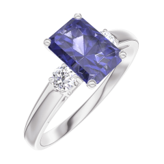 Bague Create 166224 Or blanc 9 carats - Saphir bleu Rectangle 0.7 carat - Pierres de côté Diamant