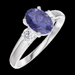 Bague Create 166324 Or blanc 9 carats - Saphir bleu Ovale 0.7 carat - Pierres de côté Diamant