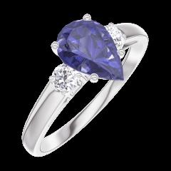 Bague Create 166424 Or blanc 9 carats - Saphir bleu Poire 0.7 carat - Pierres de côté Diamant