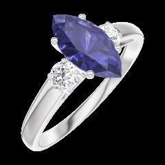 Bague Create 166524 Or blanc 9 carats - Saphir bleu Marquise 0.7 carat - Pierres de côté Diamant