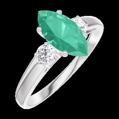 Bague Create 167124 Or blanc 9 carats - Émeraude Marquise 0.7 carat - Pierres de côté Diamant