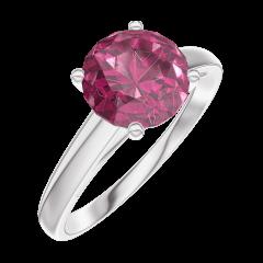 Bague Create 167804 Or blanc 9 carats - Rubis Rond 1 carat
