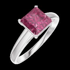 Bague Create 167904 Or blanc 9 carats - Rubis Princesse 1 carat