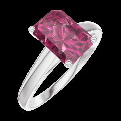 Bague Create 168004 Or blanc 9 carats - Rubis Rectangle 1 carat