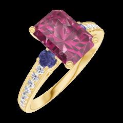 Bague Create 168066 Or jaune 9 carats - Rubis Rectangle 1 carat - Pierres de côté Saphir bleu - Sertissage Diamant