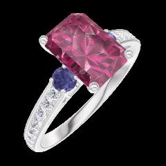 Bague Create 168068 Or blanc 9 carats - Rubis Rectangle 1 carat - Pierres de côté Saphir bleu - Sertissage Diamant