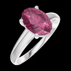Bague Create 168104 Or blanc 9 carats - Rubis Ovale 1 carat