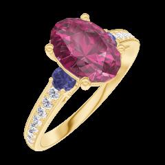 Bague Create 168166 Or jaune 9 carats - Rubis Ovale 1 carat - Pierres de côté Saphir bleu - Sertissage Diamant