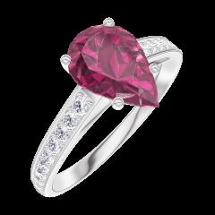 Bague Create 168208 Or blanc 9 carats - Rubis Poire 1 carat - Sertissage Diamant