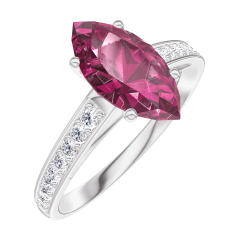 Bague Create 168308 Or blanc 9 carats - Rubis Marquise 1 carat - Sertissage Diamant