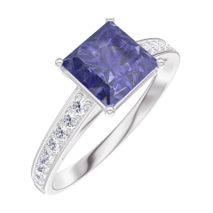 Bague Create 168508 Or blanc 9 carats - Saphir bleu Princesse 1 carat - Sertissage Diamant