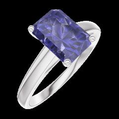 Bague Create 168604 Or blanc 9 carats - Saphir bleu Rectangle 1 carat