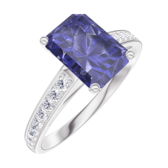 Bague Create 168608 Or blanc 9 carats - Saphir bleu Rectangle 1 carat - Sertissage Diamant