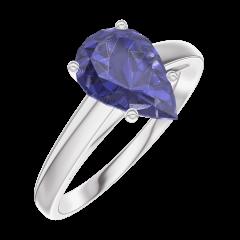 Bague Create 168804 Or blanc 9 carats - Saphir bleu Poire 1 carat