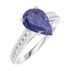 Bague Create 168808 Or blanc 9 carats - Saphir bleu Poire 1 carat - Sertissage Diamant