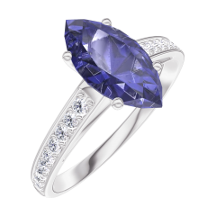 Bague Create 168908 Or blanc 9 carats - Saphir bleu Marquise 1 carat - Sertissage Diamant