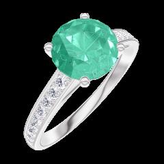 Bague Create 169008 Or blanc 9 carats - Émeraude Rond 1 carat - Sertissage Diamant