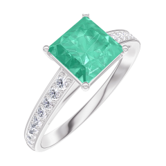 Bague Create 169108 Or blanc 9 carats - Émeraude Princesse 1 carat - Sertissage Diamant