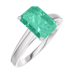 Bague Create 169204 Or blanc 9 carats - Émeraude Rectangle 1 carat