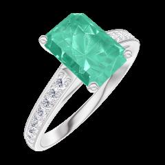 Bague Create 169208 Or blanc 9 carats - Émeraude Rectangle 1 carat - Sertissage Diamant