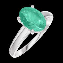 Bague Create 169304 Or blanc 9 carats - Émeraude Ovale 1 carat