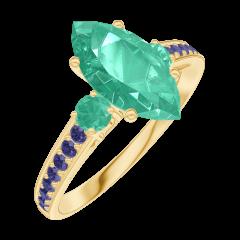 Bague Create 169594 Or jaune 9 carats - Émeraude Marquise 1 carat - Pierres de côté Émeraude - Sertissage Saphir bleu